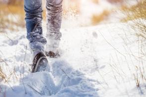 Girl walks in the snow